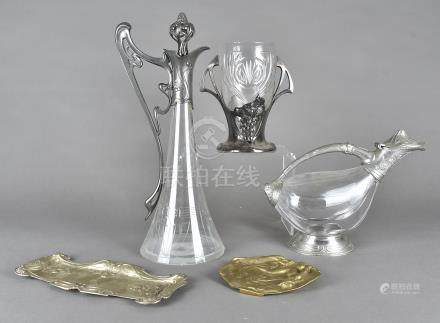 A WMF claret jug, with pewter mounts stamped to base of handle having engraved glass body, chips