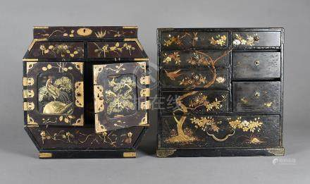 Two Japanese table top cabinets, both lacquered, one with mother of pearl inlay, fitted with