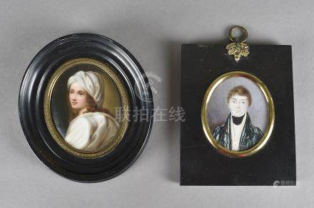 A late 18th/early 19th Century portrait miniature, of a young man marked verso John Bowie, 6.5 cm