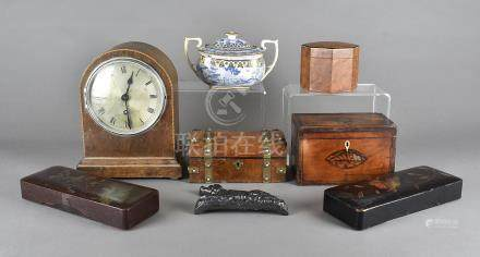 A collection of sundries, to include a tea caddy, a twin handled tray with later coloured print, a