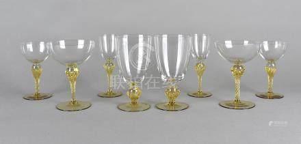 A part suite of Venetian style glassware, comprising goblets, champagne bowls etc