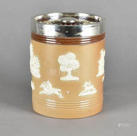 A Royal Doulton two tone stoneware and silver tobacco jar and cover, 15 cm high