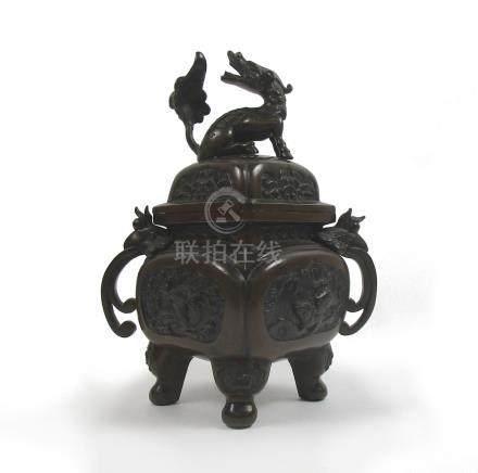 A bronze koro with kirin finial Meiji era (2)