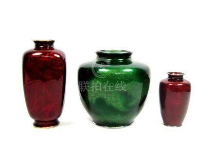 Three cloisonné enamel vases  One by the Ando Jubei Company, one by Kumeno Teitaro of Nagoya, Taisho/Showa, 20th century (3)