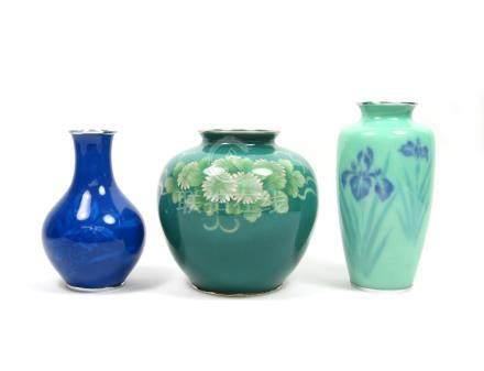 Three cloisonné enamel vases  One by the Ando Jubei Company, one by Tamura, Taisho/Showa, 20th century (3)