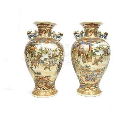 A pair of Satsuma vases Meiji era (2)