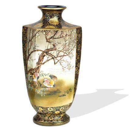 A large Satsuma vase By Kinkozan, Meiji era