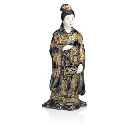A blue-glazed Satsuma figure of a lady Meiji era
