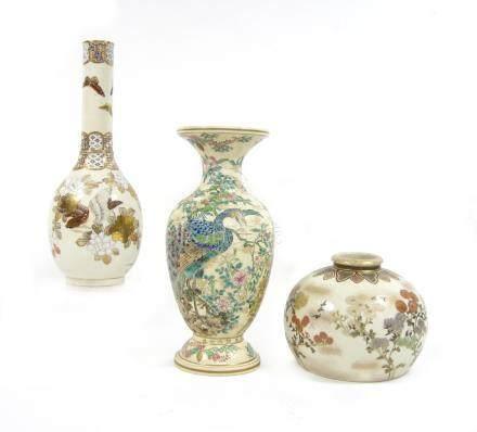 Three Satsuma vases By Meizan, Kinkozan and Seikozan, Meiji era (3)