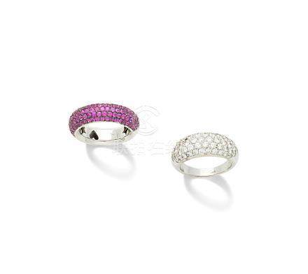 A pink sapphire ring and a diamond ring (2)