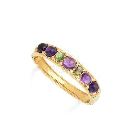 An amethyst, peridot and diamond bangle