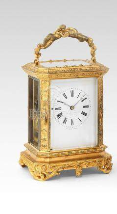 A rare mid 19th century French gilt brass bell-striking carriage clock with engraved gilt platform Bolviller, 31 LM