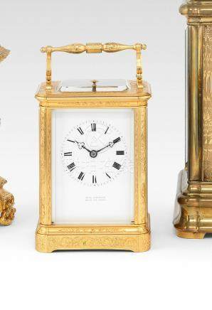 A rare third quarter of the 19th century French engraved gilt brass bell-striking and repeating carriage clock with chaff cutter escapement Paul Garnier, Hgr. du Roi, Paris, 2444