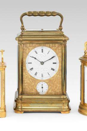 A good and rare late 19th century French bell-striking giant carriage clock with alarm  Numbered 6375