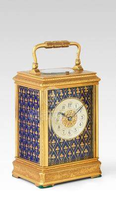 A good late 19th century French striking and repeating enamel decorated engraved brass carriage clock with Patent Surety Roller  Gay and Lamaille, number 474