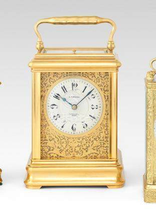 A good late 19th century giant carriage clock and numbered key Drocourt for J.W. Benson