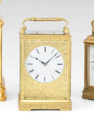 A rare mid 19th century French engraved brass quarter repeating carriage clock  Cooper, London