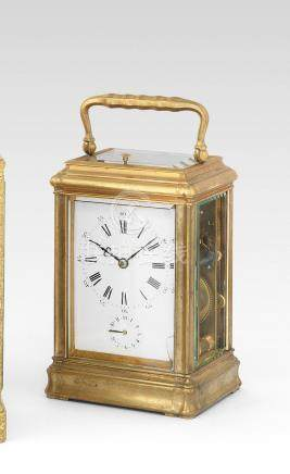A rare late 19th century French brass repeating carriage clock with patent bottom winding  Le Roy & Fils