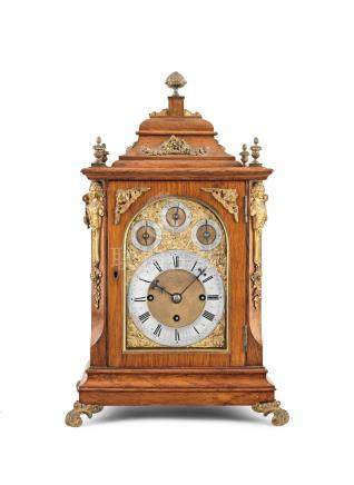 A good late 19th century quarter chiming oak bracket clock of small size