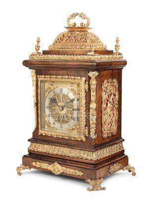 A good late 19th century gilt brass mounted quarter chiming table clock