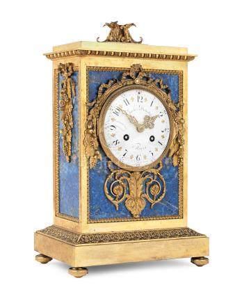 A good second half of the 19th century French lapis-lazuli mounted ormolu mantel clock  Charles Dutertre, Paris