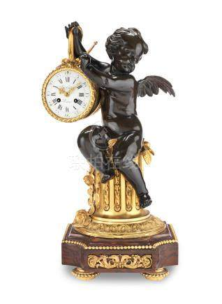 A very fine late 19th century French gilt and patinated bronze mantel clock  Retailed by Gudin, Paris