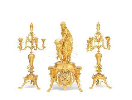 A fine late 19th century French burnished and frosted gilt bronze clock garniture  The bronze group signed E Herbert, the clock movement signed by both J.Levebvre and Japy Freres 3