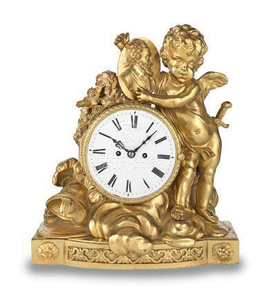 An unusual 19th century ormolu mantel clock