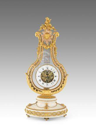 A fine late 18th century French ormolu mounted white marble lyre clock with swinging movement, centre seconds and concentric date Breant, Paris