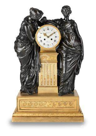 A good 19th century French monumental gilt and patinated bronze mantel clock  Deniere, Paris