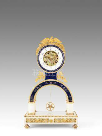 A fine early 19th century French ormolu-mounted marble and enamel decorated mantel clock with concentric date Folin L'aine a Paris