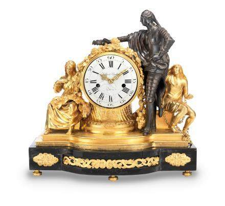 A rare mid 18th century gilt and patinated bronze clock Baillon, Paris.  The movement signed Courvoisier, Paris and numbered 2813.