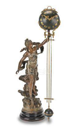 A late 19th/early 20th century French patinated spelter figural novelty timepiece The base signed Louis Moreau