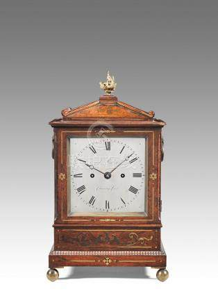 A good early 19th century brass-inlaid rosewood table clock  Rigby, Charing Cross.  The case and movement frontplate numbered 248.