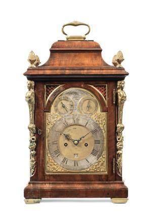A rare third quarter of the 18th century mahogany quarter repeating table clock with alarm  John Green, London