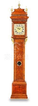 A burr walnut and amboyna veneered longcase clock  The early 18th century movement and dial by John May, London