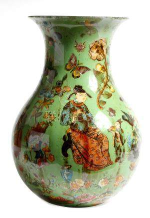 A decalcomania glass vase, of baluster form, decorated with Chinese figures, birds, butterflies,