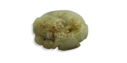 CHINESE MING DYNASTY STYLE PALE GREEN JADE DOG AND PUPPY