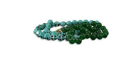 CHINESE POST REPUBLIC PERIOD TURQUOISE SKULL BEADS