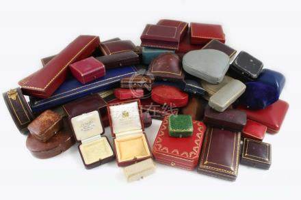 FIFTY ASSORTED JEWELLERY BOXES including one by Warkski, one by Cartier and one by S.J. Philips,
