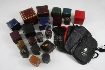 TWENTY ASSORTED JEWELLERY RING BOXES together with ten purses by Grima.