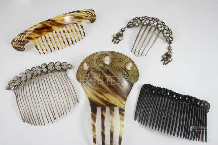 FIVE ASSORTED HAIR ORNAMENTS including a tortoiseshell one set with shell cameos depicting classical