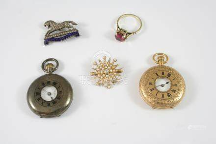 A QUANTITY OF JEWELLERY ETC. including a lady's 18ct. gold fob watch, the white enamel dial with