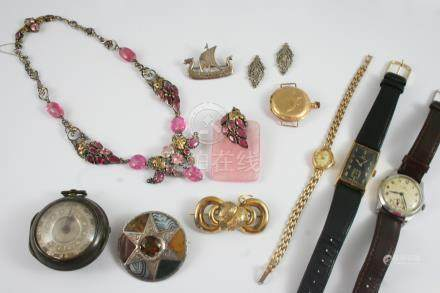 A QUANTITY OF JEWELLERY AND WATCHES including a gold wristwatch by Omega, the signed black dial with