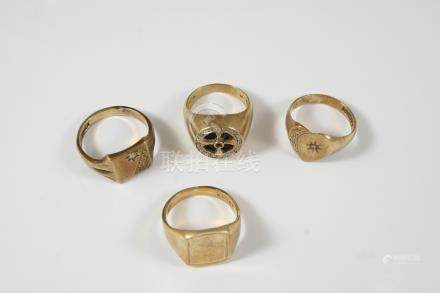 A 9CT. GOLD SIGNET RING set with a small diamond, 5.8 grams, size Q 1/2, together with a 9ct. gold
