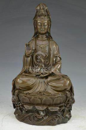 Antique Bronze Seated Quan Yin on Lotus Bed 18th C