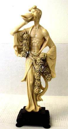 Ox Bone Carved Man Blowing Conch Shell Mark Wood Base