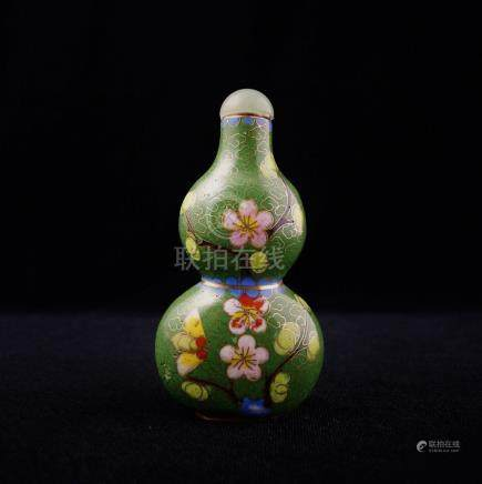 EXQUISITE 20TH CENTURY CHINESE CLOISONNE SNUFF BOTTLE