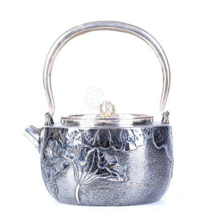 A JAPANESE SILVER TEA POT