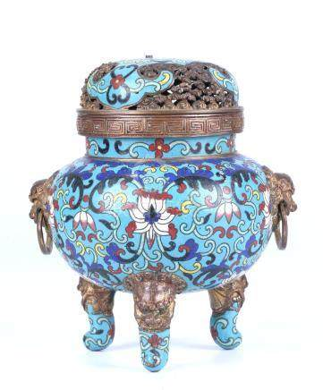 A CHINESE CLOISONNÉ ENAMEL BRONZE CENSER AND COVER